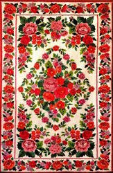 Handmade Carpet With Red Flowers Floral Pattern Terry Wool Material 1.722.6 M