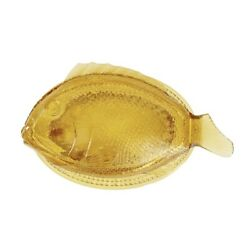 Vintage Amber Color Fish Dish Covered Candy Bowl Fostoria Glass Trinket