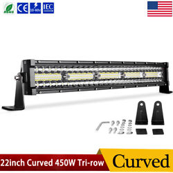 22inch 450w Led Light Bar Curved Tri-row Spot Flood Combo Offroad 4wd Truck 24''