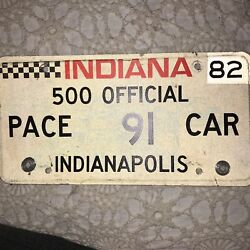 1982 Indiana Indianapolis 500 Pace Car License Plate Tag 91