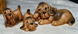 Trio Of Hound Dogs Mama And Two Babies Black And Tan Basset Hounds Mint Japan
