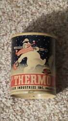 Vintage 1950's Thermo Snowman Coin Bank 3 Metal Oil Can Gas Sign Nice One