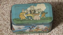 Antique Peter Rabbit Tin Litho Tindeco Candy Pail Bunny Playtime Toy School Rare