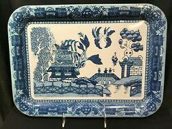 Blue Willow 3416 Metal Serving Tray By Holt Howard, Made In Mexico 1950's