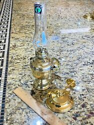 Vintage Mid Sized Perko Gimbaled Wall Mounted Oil Lamp W/smoke Bell 12 Tall
