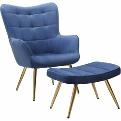 Best Master Furniture West China Velvet Accent Chair And Ottoman Set In Blue