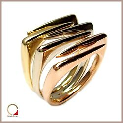 Ladyand039s Ring Yellow Gold White And Red 18 Carats Three Colors Multicolour