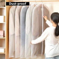 1/5pc Garment Bag Storage Cover Cloth Suit Dress Protector Dust-proof Clear L
