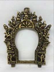 1890s Antique Old Brass South Indian Hindu All God Figure Frame Plaque Temple