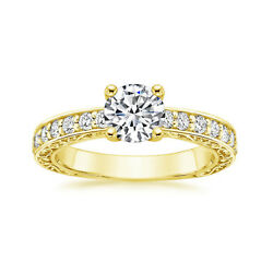 0.82 Ct Coupe Ronde Real Diamond Engagement Ring 18k Solide Jaune Or Taille M L-