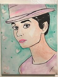 Audrey Hepburn Hand Painted Signed Portrait Fashion Icon Actress Old Hollywood