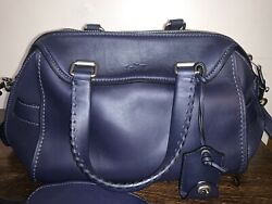 Coach Ace Satchel Crossbody Leather Handbag Indigo Midnight Blue 37017 $350.00