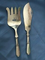 Danish Silversmith Heimburger C 1930 Fish Server Set Fork 9 3/4 Knife 10 3/4