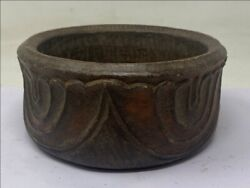 17th Antique Old Rare Stone Floral Fine Hand Carved Indian Big Bowl Food Bowl