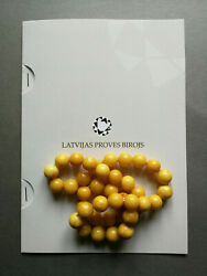 Old Baltic Egg Yolk, Butterscotch Amber Necklace With Guarantee Document