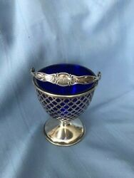 Cobalt And Sterling Basket 7 Tall 4 Wide