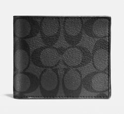 Coach Compact Id Wallet In Signature Canvas 8cc Charcoal/black Msrp 178