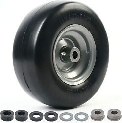 11x4.00-5and039and039 Smooth Lawn Mower Garden Tire On Rim Wheel Flat Free 3/4 Bearings
