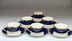 Set Of 6 Or Just 1 Coalport Athlone Blue Gold Bone China Porcelain Cup And Saucer