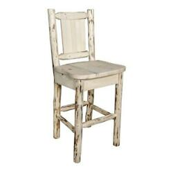 Montana Woodworks 30 Barstool With Back And Engraved Bronc Design In Natural