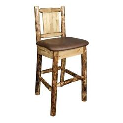 Montana Woodworks Glacier Country 24 Wood Barstool With Engraved Bronc In Brown