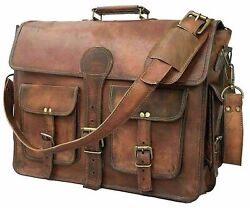 Men#x27;s Genuine Leather Vintage Laptop Handmade Briefcase Bag Satchel Messenger $49.90