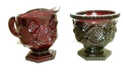 Vintage Avon 1876 Cape Cod Ruby Red Creamer And Sugar Bowl Glass Dishes