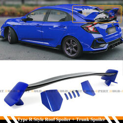 For 17-2021 Civic Fk7 Hatchback Glossy Blue Fk8 Type R Style Wing+ Roof Spoiler
