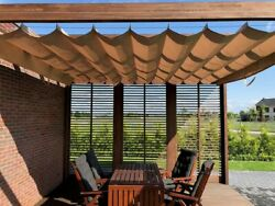 Tailor Made Waterproof Sun Shade Sail Horizontal Roman Blind Rolled Extended