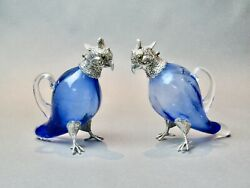 Rare Pair Of Edwardian Parrot Decanters, Silver Plate And Mouth Blown Glass C.1900