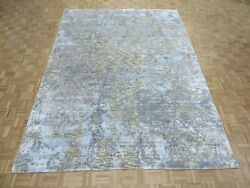 9 X 12'2 Hand Knotted Sky Blue Modern Abstract Oriental Rug With Silk G9717
