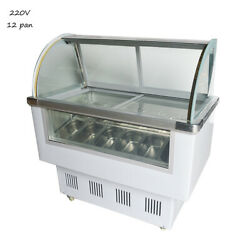 Commercial 220v 12 Pan Ice Cream Showcase Display Cabinet With Led Lights