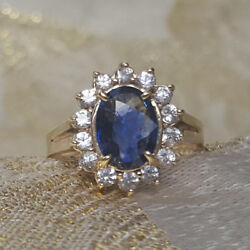 1.75 Ct Real Diamond Blue Sapphire Gemstone Ring Solid 14k White Gold All Size