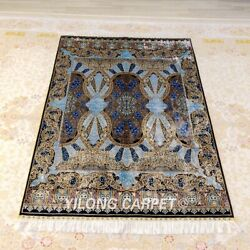 Yilong 4'x6' Blue Handknotted Silk Carpet Home Interior Durable Area Rug 161a