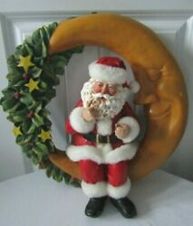 Midwest Of Cannon Falls Santa Claus On Moon Christmas Wreath Wall Hanging