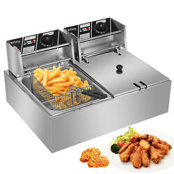 12l 5000w Professional Electric Countertop Deep Fryer Dual Tank Stainless Steel