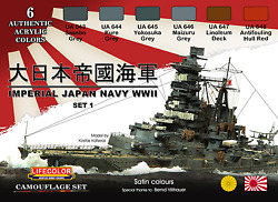 Lifecolor Acrylic - Cs 36 - Imperial Japan Navy Wwii Set 1 Camouflage Set.