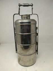 Indian Old Steal Hand Forged 4 Compartments Lunch Food Tiffin Box Collectible