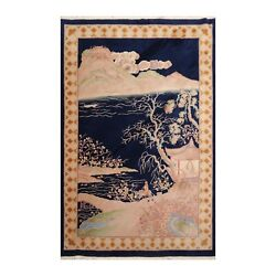 6and039 X 9and039 Hand Knotted 100 Wool Art Deco Traditional Oriental Area Rug Navy 6x9