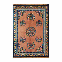 6and0397 X 9and0397 Hand Knotted 100 Wool Chinese Art Deco Oriental Area Rug Peach