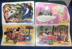 4 Disney Placemats- Snow White, Tinker Bell, Sword In The Stone, Ludwig Von Drak