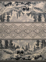 Silver Diamonds Banded Trees Bears Contemporary Area Rug Nature Print 711-32571