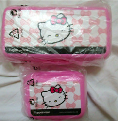 Tupperware Hello Kitty Sandwich Keeper Rectangular And Oyster Container Set New
