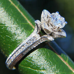 2.00 Ct Real Diamond Engagement Ring For Women 18k White Gold Size 4.5 5 6 7 8 9