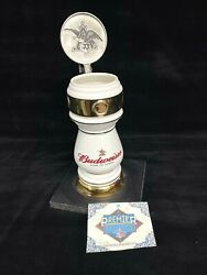 Budweiser Draught Tower White Stein With Rare Artist Signed
