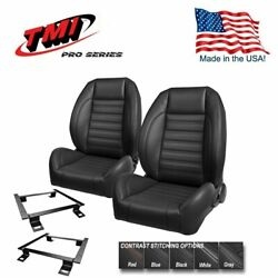 Tmi Pro Series Bucket Seat Set + Rear Uphol. For 1964 - 1973 Mustang Fastback