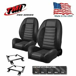 Tmi Pro Series Sport R Bucket Seat Set +rear For 1964 - 1969 Mustang Coupe