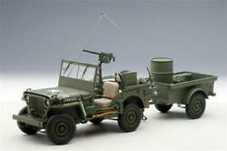 74016 Jeep Willys Mb Usa Army 1941 With Trailer Autoart 118 Aa74016 Model