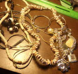 Vintage Lot Of 10 Of Custome Bracelet Ear Rings Necklace Ring Lot 22