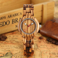 Colorful Luminous Hands Natural Wood Watches Womenand039s Bamboo Quartz Wrist Watch
